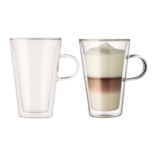 Bodum Canteen Double Wall Glass Set, Mouth Blown Borosilicate Glass - 0.4 L, Transparent, Pack of 2