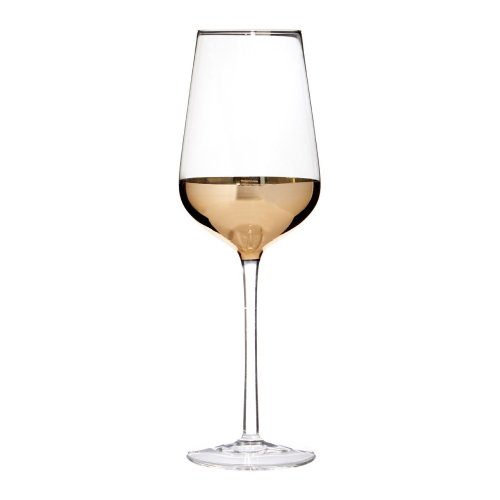 Set Of 4 Horizon Wine Glasses, Clear/Gold