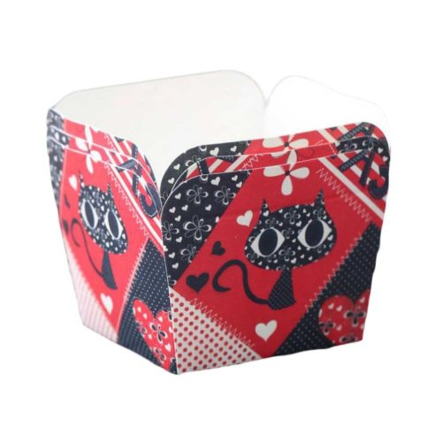 50 Pcs Paper Baking Cup Heat-Resistant Square Cupcake&Muffin Cup - Black Cat