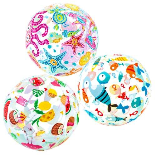 """Intex 20"""" Inflatable Beach Ball - Assorted Ocean & Summer Designs"""