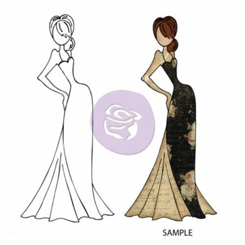 Mixed Media Doll Cling Rubber Stamps-Tasha Doll with Evening Dress 3.5 in. X8 in.