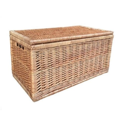 Large Light Steamed Wicker Linen Chest