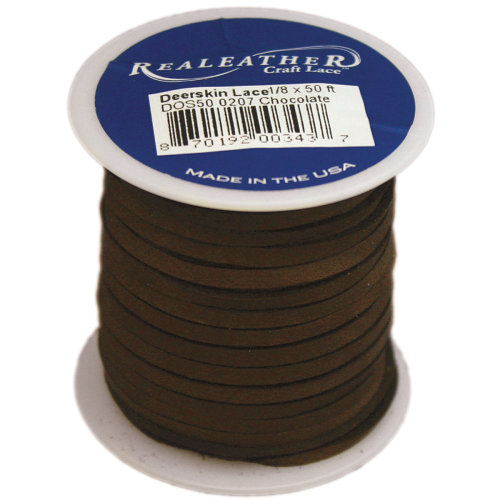 "Realeather Crafts Deerskin Lace .125""X50' Spool-Chocolate"