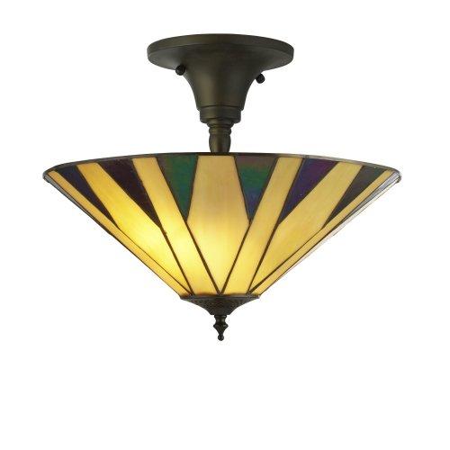 Searchlight Charleston Tiffany Semi Flush Yellow/Multi