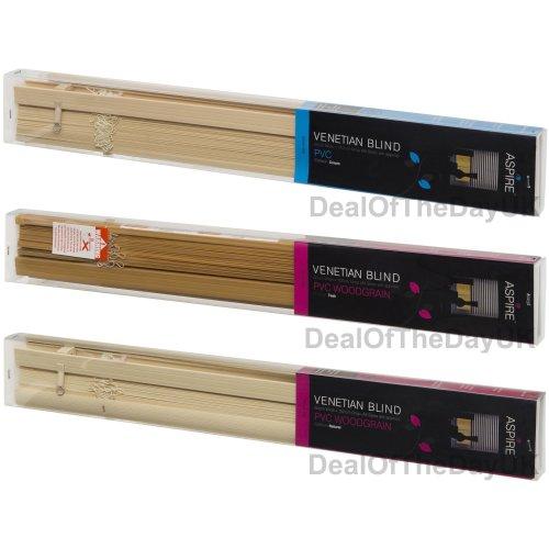120cm PVC Venetian Blinds Wooden Wood Grain Effect Teak Natural Cream
