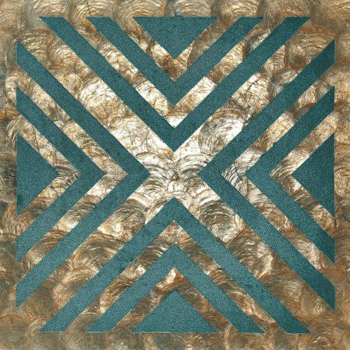 WallFace LU10-5 panel set shells glass beads mother-of-pearl bronze green-blue