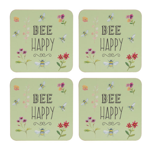 English Tableware Co. Bee Happy Set of 4 Coasters
