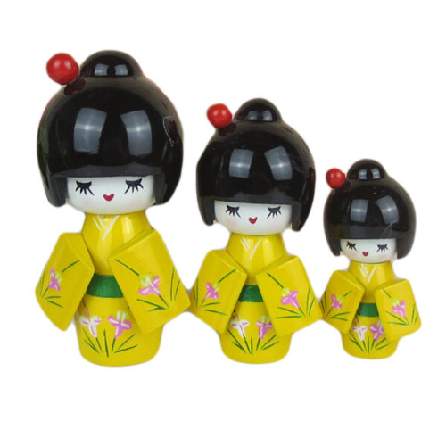 3 Pcs Lovely Japanese Kimono Girl Wooden Dolls With Orchid, Yellow