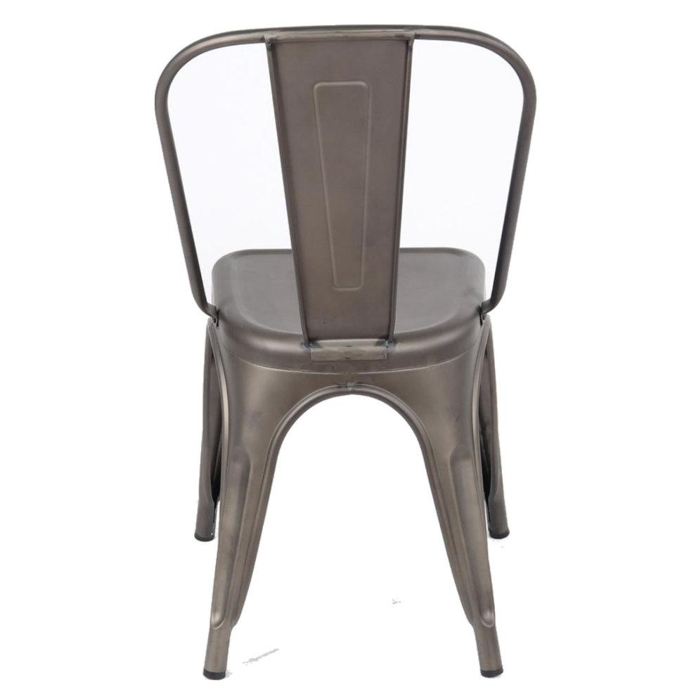 Tolix Metal Vintage Chairs Kitchen Breakfast Dining Chair Sedia Tre Gun Metal