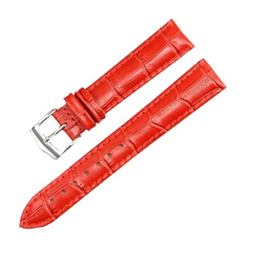 22 MM Leather Women Watch Strap/Watch Band Wrist Replacement Pin Buckle Red