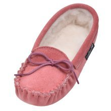 Childrens Suede and Lambswool Moccasin Slippers