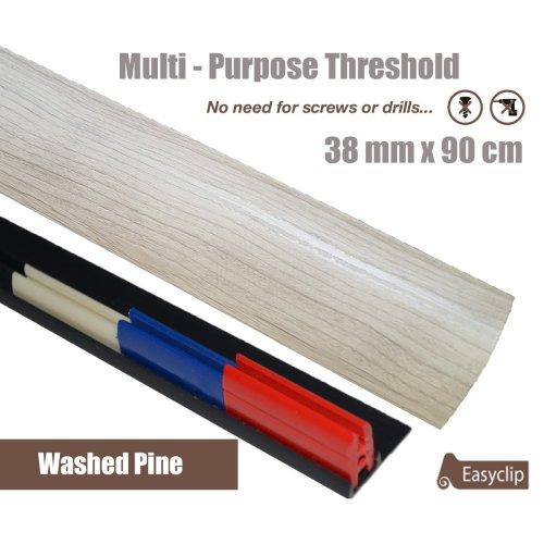 Washed Pine Multi Purpose Threshold Strip 38x90cm Adhesive Clip System