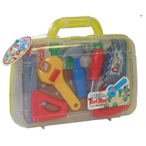 Toy Tool Carrycase Set Kids Hand Tools With Work Bench Play Nuts & Bolt 3 Years+