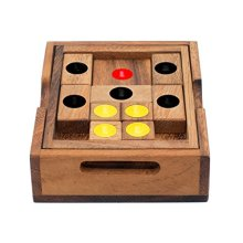 Setting Sun: Wooden Klotski Sliding Block Puzzle. Handmade Wooden Puzzles for Adults by SiamMandalay with SM Gift Box(Pictured)