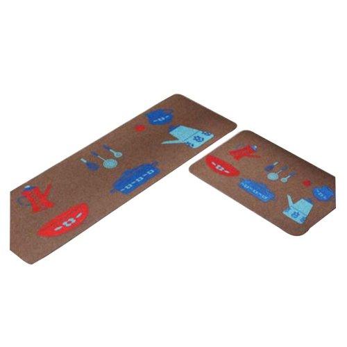 Set of 2 Elegant Dirt Resistant Washable Kitchen Mat Room Mat Door Mats