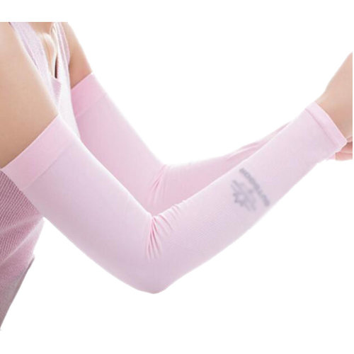 Unisex Outdoor Sunscreen Clothing Arm Skin Care Breathable Cycling Sun Protective Sleeves- Pink