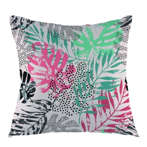 """Melyaxu Leaves Throw Pillow Case Tropical Pillow Square Cushion Cover for Sofa Couch Home Car Bedroom Living Room 18"""" x 18"""" Turquoise Black Red"""