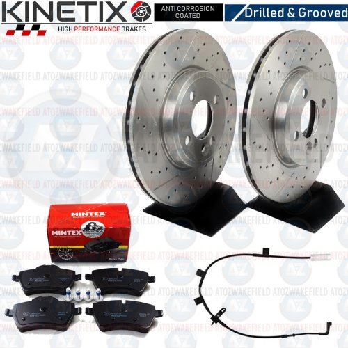 FOR MINI COOPER S R55 FRONT DRILLED GROOVED BRAKE DISCS MINTEX PADS WIRE 294mm