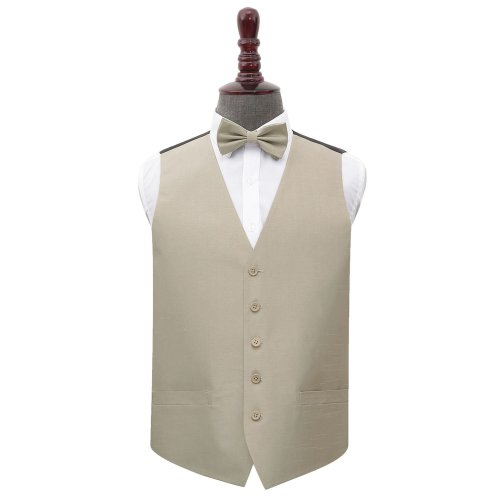 Taupe Shantung Wedding Waistcoat & Bow Tie Set 40'