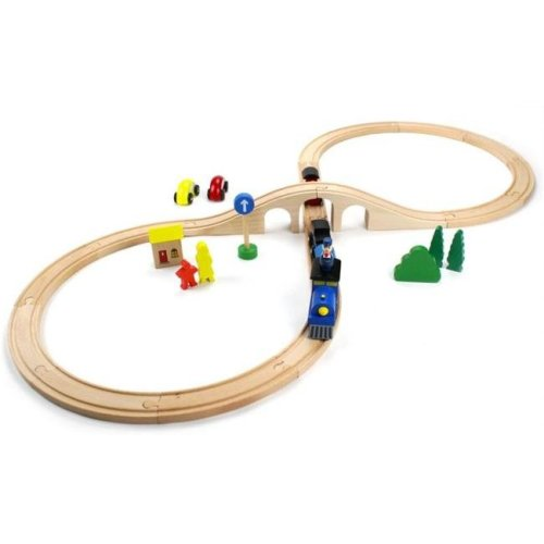 Conductor Carl Wooden Train TCON-205 Wooden 30 Piece Figure 8 Train Set with Conductor Carl Train
