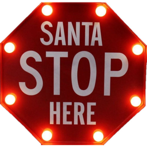 Red 'Santa Stop Here' Christmas Light | Santa Sign With LED Bulbs