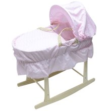 Beautiful Broderie Anglaise Moses Basket With Natural Rocking Stand Pink