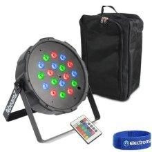 Beamz Flat Slim PAR 18 LED RGB DMX UPLIGHTER & Gearsak Accessory Carry Bag
