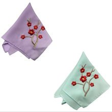 Two Pieces Of Elegant  Retro Plum Flower Embroidered Handkerchiefs-a