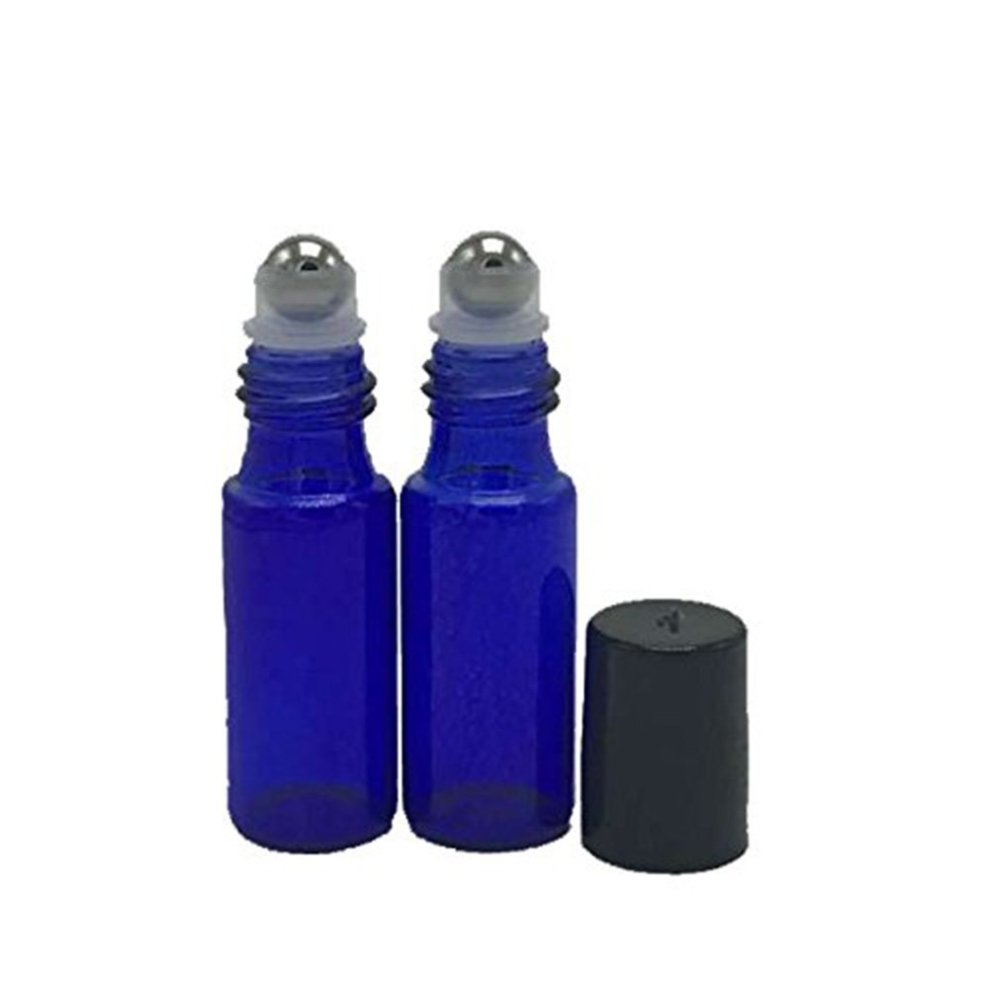 28265a6d089e HugeStore 12 Pcs 5ml Refillable Blue Glass Rollerball Bottles Empty  Essential Oil Glass Roller Bottles for Aromatherapy with 3ML Dropper