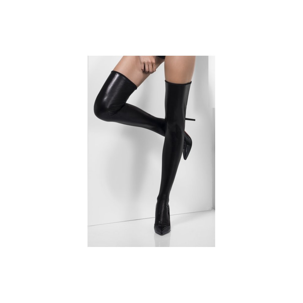 715bb9de168 Smiffy s Black Wet Look Hold-ups - look wet stockings black holdups fancy  dress sexy.