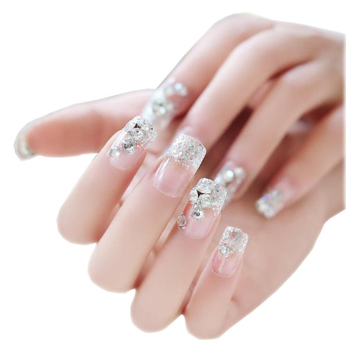Nail Art Decals Nails Wraps Temporary Transparent with Diamonds