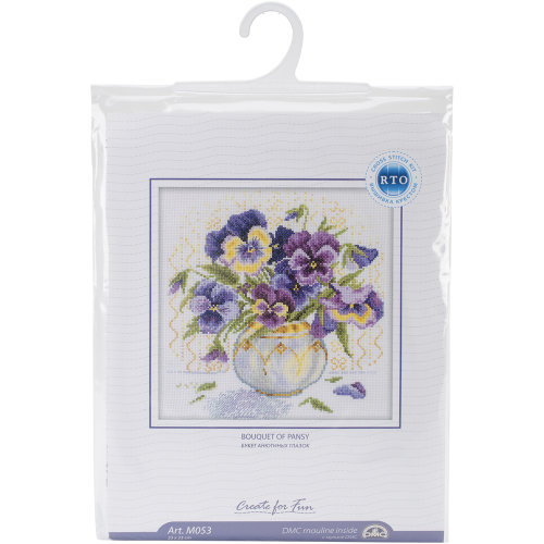 """Pansies Counted Cross Stitch Kit-9""""X9"""" 14 Count"""