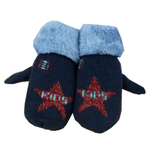 Beautiful Warm Velvet Gloves Green Kids Winter Thicken Mittens