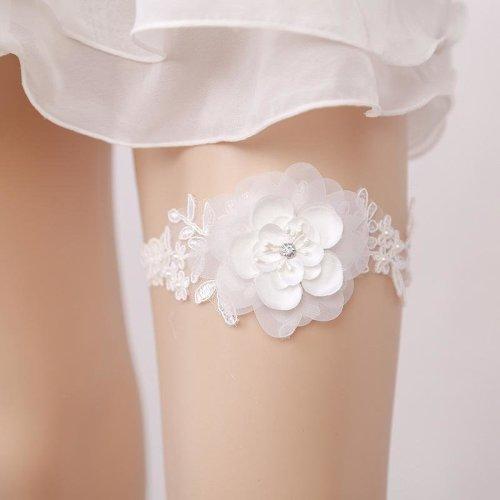 New Women Wedding White Garter For Bride Hand Made Big Flower Wedding Leg Garter Belt For Ladies