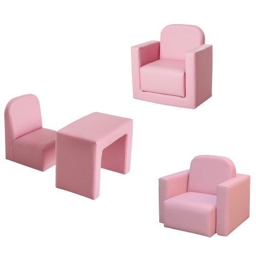 HOMCOM Kids Mini Sofa 3 In 1 Table Chair Set  Armchair Seat Game Relax Playroom Seater Children Girl Boys Pink