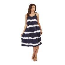 Ladies, Pistachio, Tie Dye Striped Pleat Overlay Short Dress, Navy Stripes