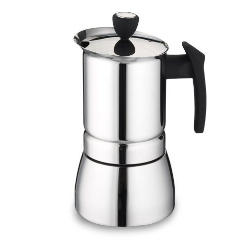 Cafe Ole 6-Cup Italian Style Stainless Steel Espresso Coffee Maker, Silver, 240 Ml
