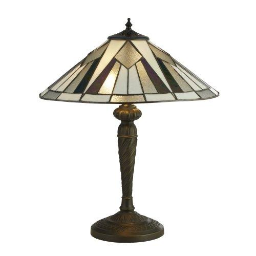 Searchlight Gatsby Tiffany Table Lamp Bronze/Black/Clear/White/Multi