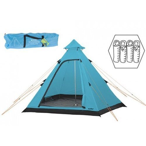 Summit Hydrahalt - 4 Person Blue Tipi Camping Outdoors Tent Includes Pegs -  person camping tent 4 tipi festival summit hydrahalt holiday