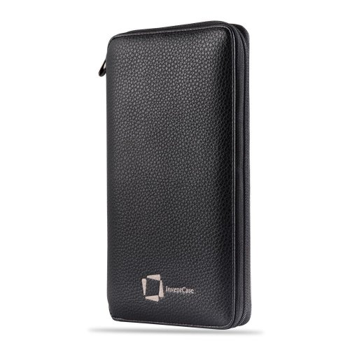 InventCase PU Leather RFID Blocking Passport / ID Card / Money Wallet Organiser Holder Case Cover - Black
