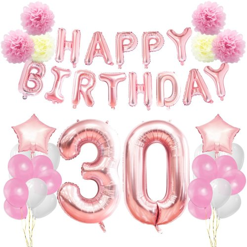KUNGYO 30th Birthday Decorations Kit Rose Gold Happy Banner Giant Number 30 And Star Helium Foil Balloons Ribbons Paper Pom Flowers On OnBuy