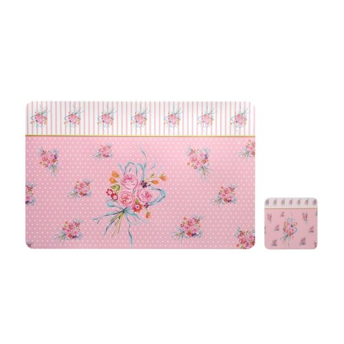 Set of 4 Vintage Rose Placemats And Coasters - Pink
