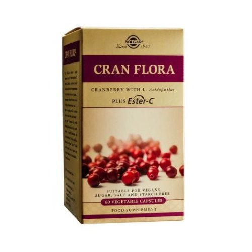Solgar Cran Flora with Probiotics Plus Ester C Vegetable Capsules, 60