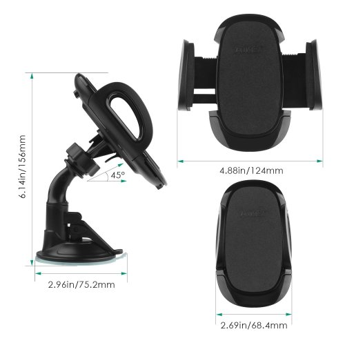 AUKEY Mobile Phone Holder Windshield Dashboard 360 Degree Rotating Car Mount Holder Universal for GPS, iPhone 7 / 6 / 5 , Samsung S8, Nexus and...