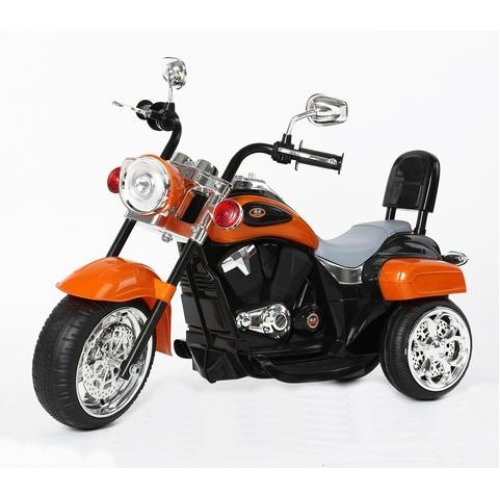 Harley-Davidson Style Kids 3 Wheel Chopper 6V Electric Motor Trike LED lights and Sound Colour Orange Ages 18 Months-4 Years