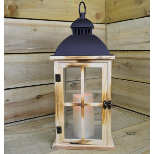 48cm x 20cm Light Wooden Festive Battery Powered Candle Lantern - Square