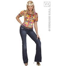 Velvet Hippie T - Shirt Costume Medium For 60s 70s Hippy Fancy Dress -  multicolour top 1970s ladies velvet medium hippy chick festival fancy dress