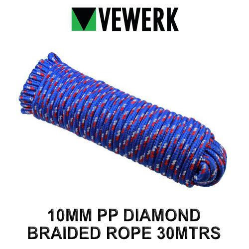 VEWERK 10mm Polypropylene Diamond Braided Rope 30 Meters 9020