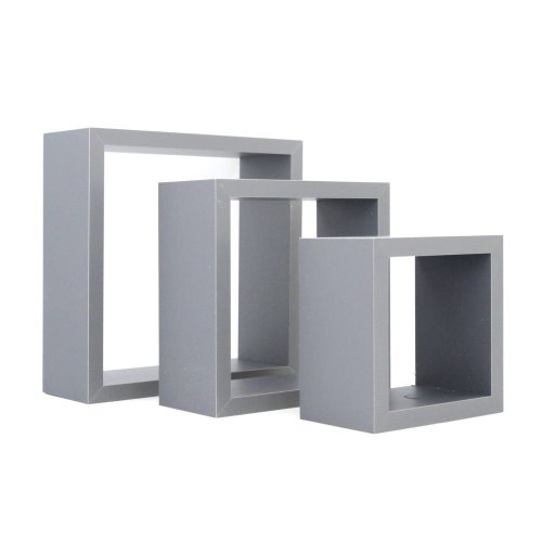Harbour Housewares Square Floating Box Wall Shelf Shelves - 3 Different Sizes - Grey - Set of 3
