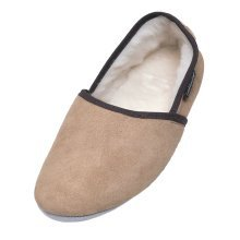 Mens Suede and Lambswool Turn Slippers